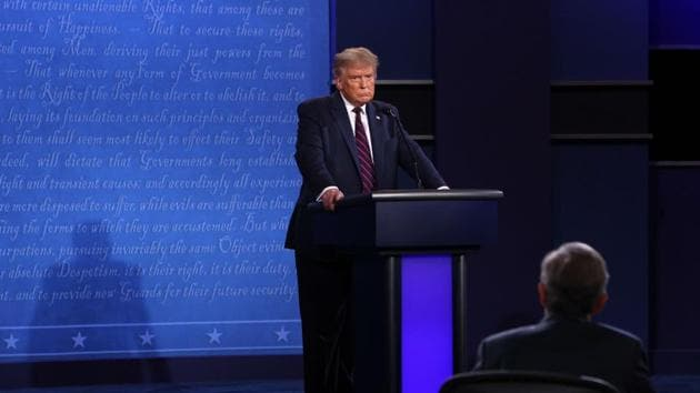 Donald Trump continued to spread falsehoods about mail voting. He said falsely that his campaign's poll watchers were improperly turned away at a Philadelphia early voting site Tuesday(AFP)