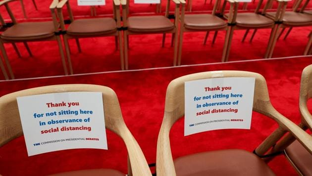 Signs direct attendees to leave specific seats empty for purposes of social distancing during the coronavirus disease (Covid-19) pandemic as the debate hall awaits US President Donald Trump and Democratic US presidential nominee and former Vice President Joe Biden before their first presidential debate.(Reuters Photo)