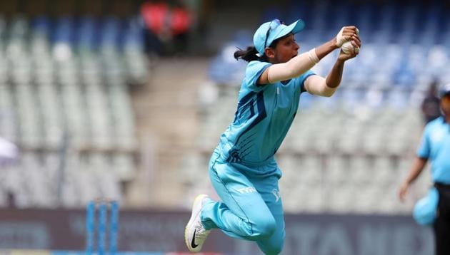 Harmanpreet Kaur captain of IPL Supernovas takes a catch of Smriti Mandhana captain of IPL Trailblazers during the Women's IPL T20 Challenge match between the IPL Trailblazers and the IPL Supernovas held at the Wankhede Stadium in Mumbai on the 22nd May 2018. Photo by: Vipin Pawar /SPORTZPICS for BCCI