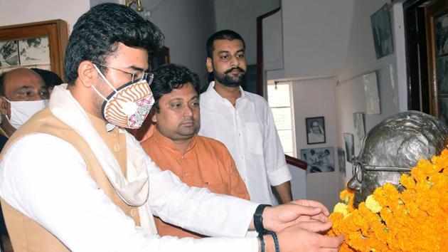 Tejasvi Surya is the newly appointed Bharatiya Janata Yuva Morcha president.(ANI PHOTO.)