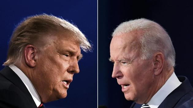 A combination photo of US President Donald Trump and Democratic Presidential candidate former Vice President Joe Biden squaring off during the first presidential debate at the Case Western Reserve University and Cleveland Clinic in Cleveland, Ohio on September 29.(AFP)