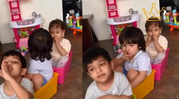 Taimur and Inaaya during their playtime.