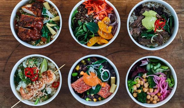 A selection of rice-based bowls at NYC restaurant Harlem, which focuses on the grain across its menu. On offer are meals from Asia, India, Nigeria and America. (Courtesy: Fieldtrip Harlem)
