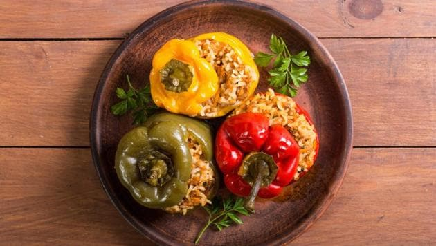 Gemists.  The Greeks never met a vegetable that they didn't want to stuff and cook.  Among the most popular versions are tomatoes or peppers stuffed with soft rice, herbs, nuts and dried fruits.  Often cheese and meat too.  (SHUTTER STOCK)