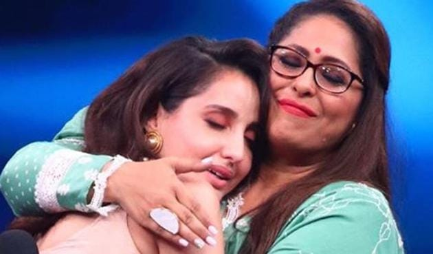 Nora Fatehi with Geeta Kapur on the sets of India's Best Dancer.