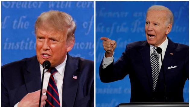 FILE PHOTO: A combination picture shows U.S. President Donald Trump and Democratic presidential nominee Joe Biden speaking during the first 2020 presidential campaign debate, held on the campus of the Cleveland Clinic at Case Western Reserve University in Cleveland, Ohio, U.S., September 29, 2020. Picture taken September 29, 2020. REUTERS/Brian Snyder/File Photo(REUTERS)