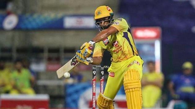 CSK player Ambati Rayudu plays a shot during the first cricket match of IPL 2020 against Mumbai Indians.(PTI)