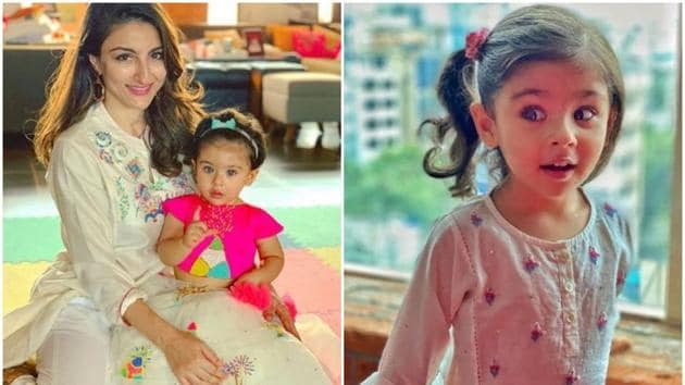 Soha Ali Khan wit daughter Inaaya Naumi Khemmu.