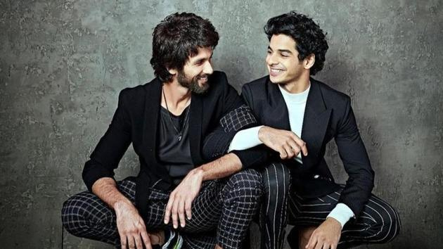 Shahid Kapoor and Ishaan Khatter pose together.