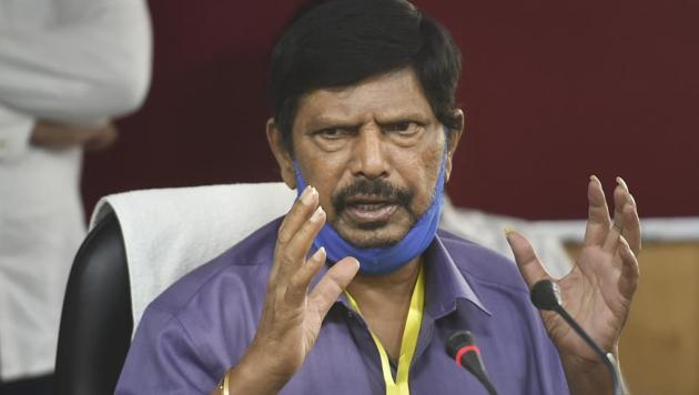 Union Minister and President of Republican Party of India Ramdas Athawale addresses a press conference in Lucknow, Saturday.(PTI)