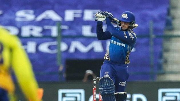 Mumbai Indians player Quinton de Kock plays a shot during the first cricket match of IPL 2020 against Chennai Super Kings.(PTI)