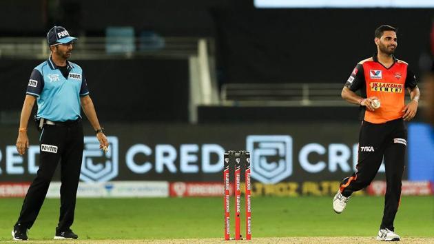Sunrisers Hyderabad player Bhuvneshwar Kumar during the Indian Premier League 2020 cricket match against Chennai Super Kings.(PTI)