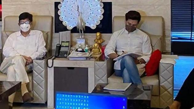 Lok Jan Shakti Party's Central Parliamentary Board met on Sunday under the leadership of party chief Chirag Paswan.(ANI photo)