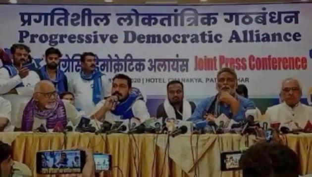 Azad Samaj Party chief Chandrashekhar Azad Ravan (sitting second from left) at the launch of the Progressive Democratic Alliance in Patna last week.