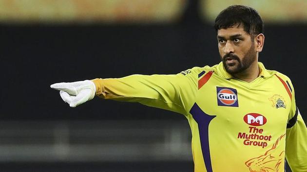 Chennai Super Kings (CSK) skipper MS Dhoni gestures during IPL 2020 cricket match against Delhi Capitals (DC).(PTI)