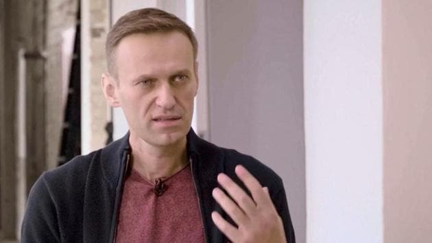 Russian opposition politician Alexei Navalny speaks during an interview with prominent Russian YouTube blogger Yury Dud, in Berlin.(Reuters)