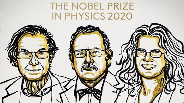 Physicists Roger Penrose of Britain, Reinhard Genzel of Germany and Andrea Ghez received the Nobel Prize for 2020.(Twitter/TheNobel Prize)