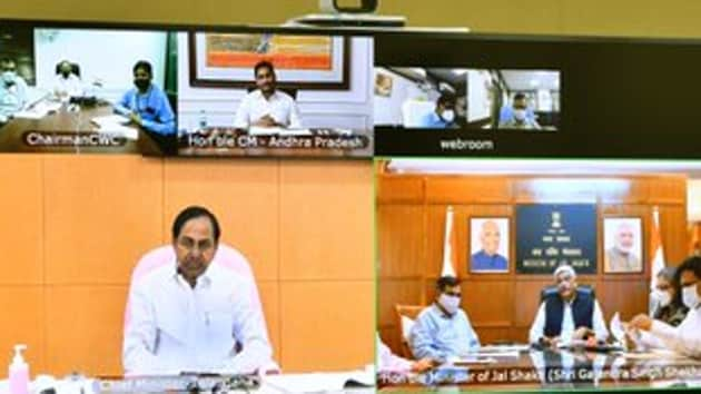 Telangana chief minister K Chandrasekhar Rao made it clear at the apex council meeting convened by Union Jal Shakti minister Gajendra Singh Shekawat through video conference in which Andhra Pradesh chief minister YS Jagan Mohan Reddy participated. (Photo@TelanganaCMO)