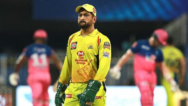 Chennai Super Kings captain Mahendra Singh Dhoni during IPL 2020 cricket match against Rajasthan Royals.(PTI)
