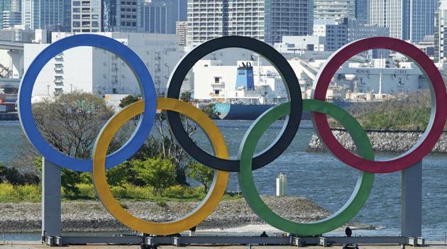 Photo of Olympic rings in Tokyo's Odaiba district(AP)