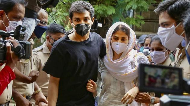 Bollywood actor Rhea Chakraborty and her brother Showik outside the ED office in Mumbai in August.(PTI File Photo)