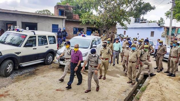 A Special Investigation Team visits the Bikru village, where eight policemen were killed by gangster Vikas Dubey on July 3.(PTI file)