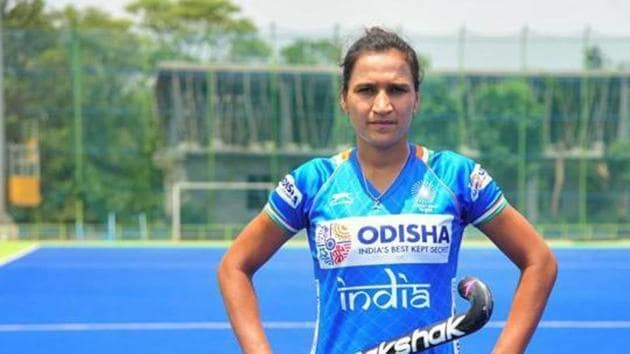 Bengaluru: Indian women hockey team captain Rani Rampal dons new jersey during a practice session ahead of the FIH Women's Series finals, at Sports Authority of India (SAI) in Bengaluru, Saturday, June 1, 2019. (PTI Photo)(PTI6_1_2019_000182B)(PTI)