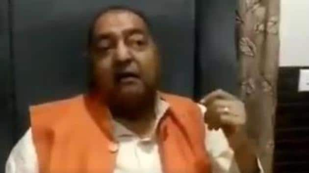 BJP leader Ranjeet Srivastava as seen in the video clip where he is making disparaging remarks about the Hathras victim. (Videograb)