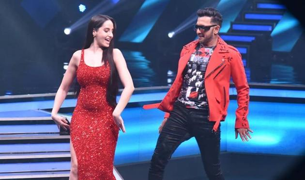 Terence Lewis and Nora Fatehi on the sets of India's Best Dancer.