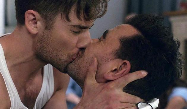 Dan Levy and Dustin Milligan's kiss in Schitt's Creek.