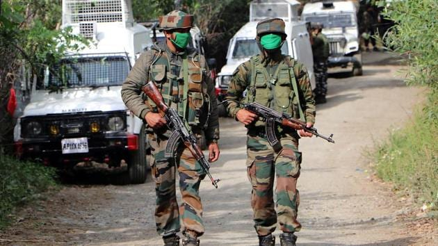 An encounter broke out between militants and security forces in Shopian district of Jammu and Kashmir on Tuesday.(ANI photo)