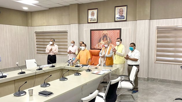 """""""On this day of Prime Minister Narendra Modi's call for 'Jan Andolan' for Covid-19, I am happy to inaugurate a 150 TPD capacity Liquid Oxygen Plant in Uttar Pradesh which will help us to fight Corona better,"""" the chief minister tweeted.(Twitter/@myogiadityanath)"""