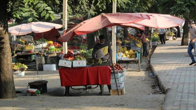Illegal vending sites have grown over the years in Mohali.(HT Photo.)
