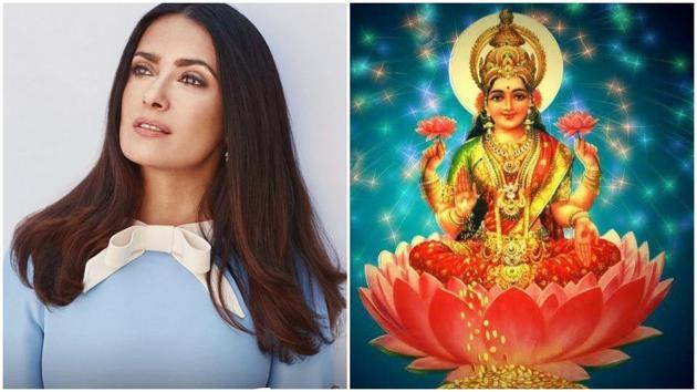 Salma Hayek has shared this image of Goddess Laxmi on Instagram.