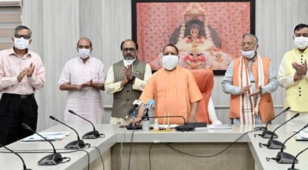 Uttar Pradesh chief minister Yogi Adityanath at the online inauguration of the oxygen plant .(Sourced)