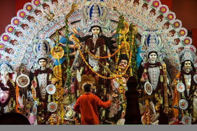 File photo: A view of an idol of Goddess Durga at a Durga Puja pandal.(Amal KS/ Hindustan Times)