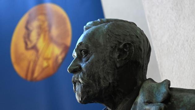 A bust of Alfred Nobel is pictured in Stockholm, Sweden, on October 5.(AFP Photo)