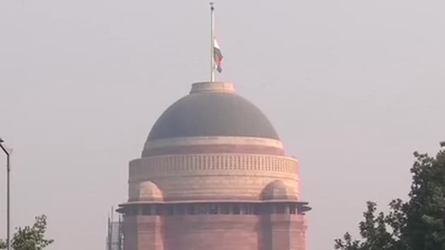 As a mark of respect to Cabinet Minister Ram Vilas Paswan, flags were flown at half-mast on Friday in Delhi and Capitals of all States and UTs.(ANI Photo)