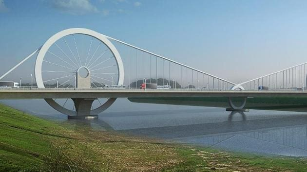 The bridge will have three wheels as part of its design. The two bigger rings will be 40 metres in diameter and the smaller ones will be of 16-metre diameter.(Deep Dey, DesignFakt India Pvt Ltd)