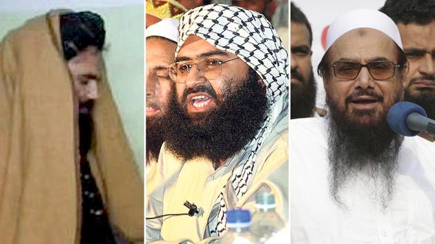 Sirajiuddin Haqqani, head of HN, operates on Durand line with influence of his Zardan tribe on Khyber pass area and Kabul. Masood Azhar runs Jaish-e-Mohammed terror group as family firm from Bahawalpur with his brother Mufti Rauf Asghar as its defacto commander. Hafiz Saeed's son Talha is the main player behind violence in Jammu and Kashmir. All three groups have terror training camps in Pakistan and Afghanistan(HT Illustration/AFP/AP)