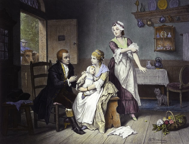 Edward Jenner, vaccinating his young child, held by Mrs Jenner. Coloured engraving by C. Manigaud after E Hamman.(Wellcome Library)