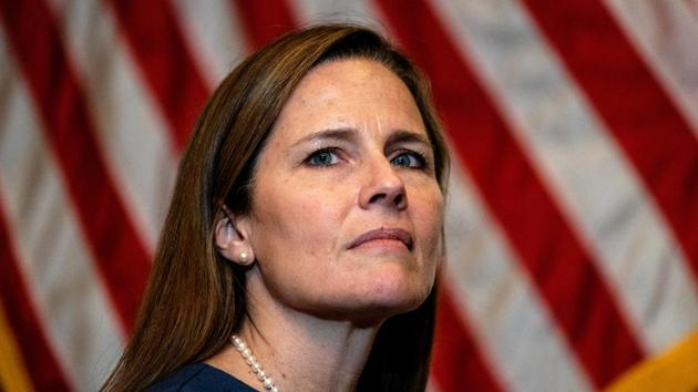 Judge Amy Coney Barrett, US President Donald Trump's nominee for the US Supreme Court, in the US Capitol, in Washington.(Reuters Photo)