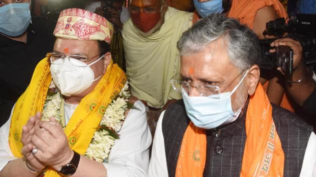 BJP national president JP Nadda during his visit to the Mahavir temple ahead of Bihar assembly elections in Patna on Sunday.(HT PHOTO.)