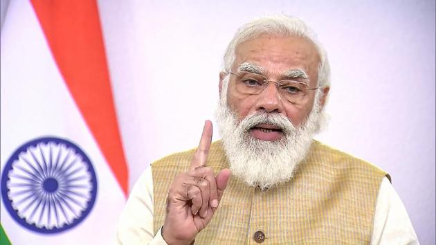 """""""Today is a day to rededicate ourselves towards fulfilling their vision for our nation,"""" Prime Minister Narendra Modi said on Jayaprakash Narayan and Nanaji Deshmukh's birth anniversary.(PTI photo)"""