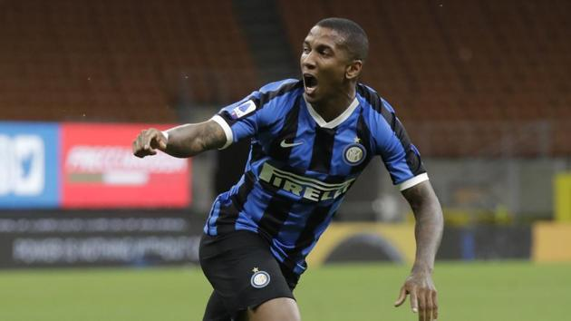 In this July 13, 2020 file photo Inter Milan's Ashley Young celebrates after scoring his side's opening goal during a Serie A soccer match.(AP)