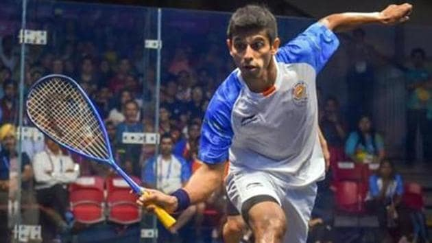 India's Saurav Ghosal in action during men's squash semifinal match against Hong Kong at the 18th Asian Games 2018 in Jakarta.(PTI)
