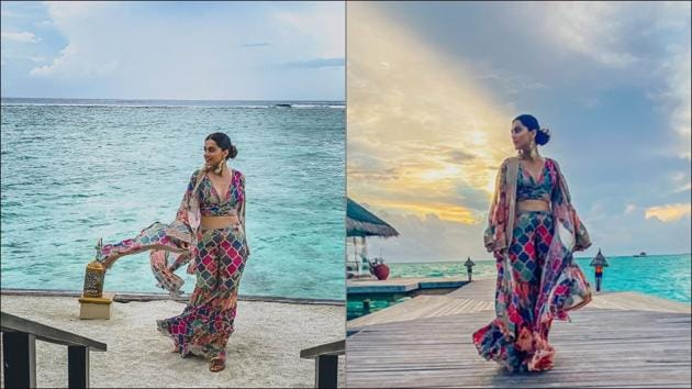Taapsee Pannu's tropical parody vibes and summery resort wear leaves Neena Gupta impressed(Instagram/taapsee)