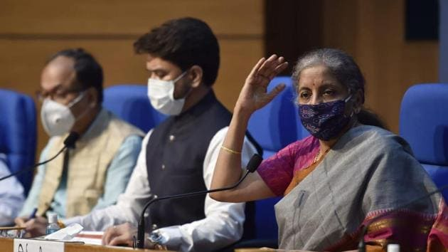 Union Finance Minister Nirmala Sitharaman addressing a press conference on Economic at National Media Centre in New Delhi on Monday.(Ajay Aggarwal/HT Photo)