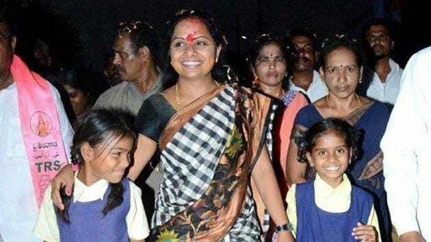 The former MP swept the bypolls to the MLC seat from Nizamabad local authorities constituency with a margin of 672 votes by securing over 88 percent votes polled. (Photo @RaoKavitha)