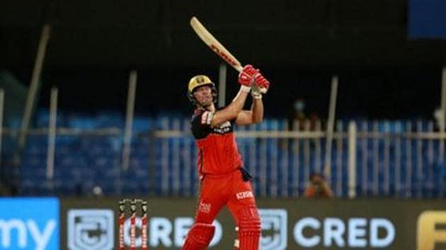 Photo of AB de Villiers batting against KKR in 28th IPL 2020 match in Sharjah(IPL/Twitter)